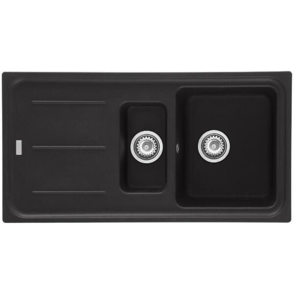 Mondella Premium Black Granite Reversible Kitchen Sink - 1.5 Bowl