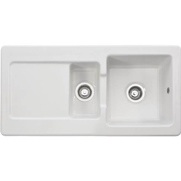Franke Livorno Ceramic Reversible Kitchen Sink - 1.5 Bowl
