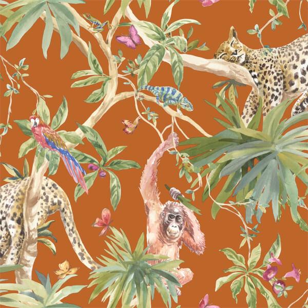 Holden Decor Jungle Animals Smooth Metallic Orange Background Wallpaper