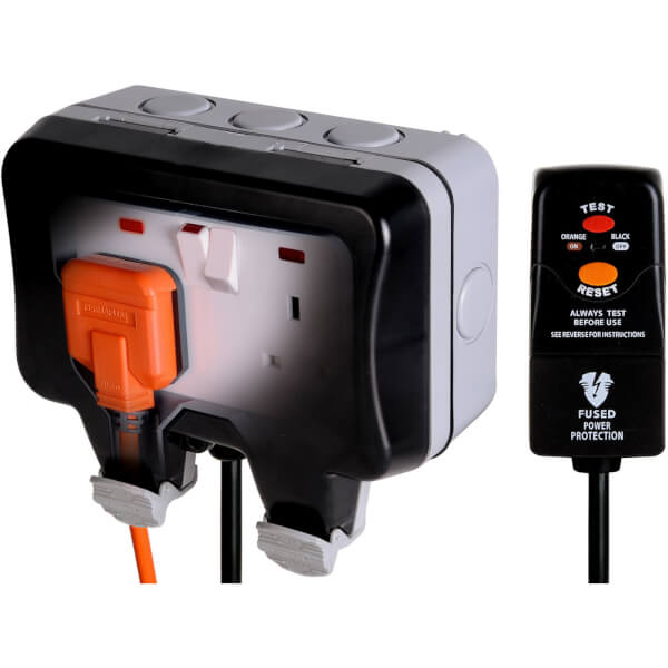 BG 13 Amp 2 Gang Switched Weatherproof Socket with 3m RCD Plug Grey/Black