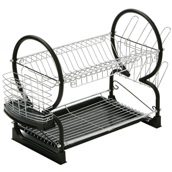 2 Tier Dish Drainer - Black Enamel Coated Frame