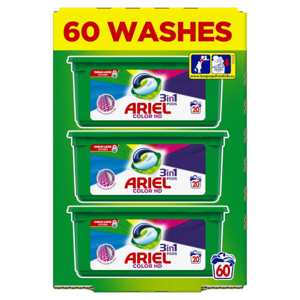 Ariel 3in1 Pods Colour Washing Capsules -60W