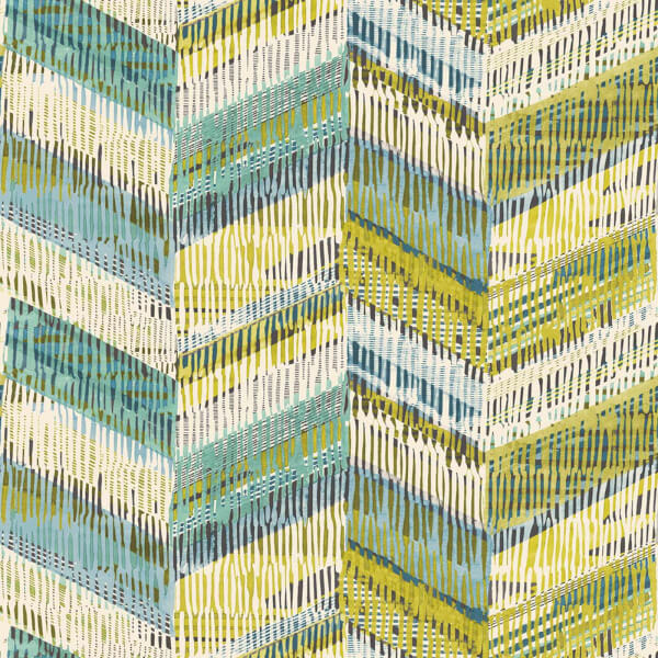 Arthouse Chevron Weave Geometric Embossed Glitter Lime Wallpaper