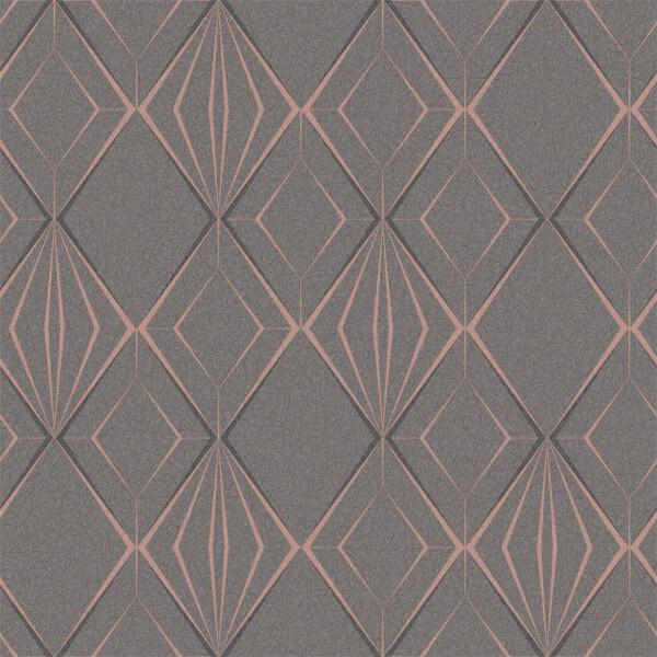 Holden Decor Antares Geometric Textured Metallic Glitter Charocal and Rose Gold Wallpaper
