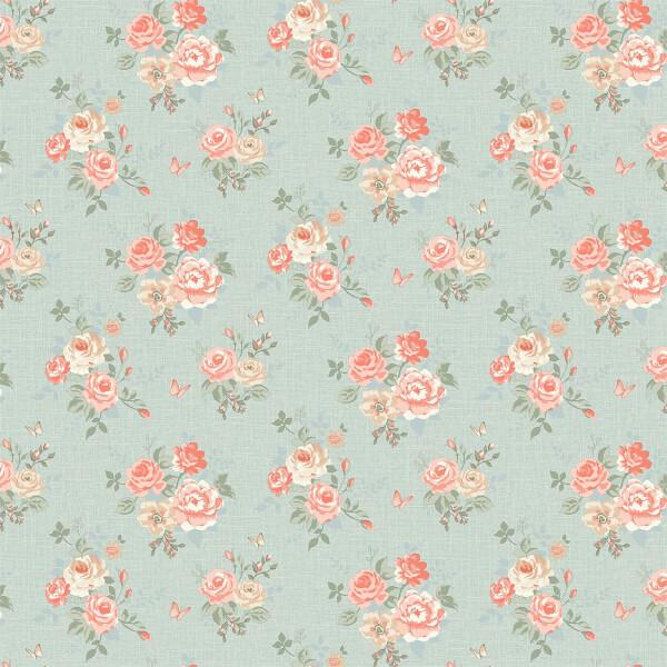 Grandeco  Butterfly Rose Bloom Teal Wallpaper