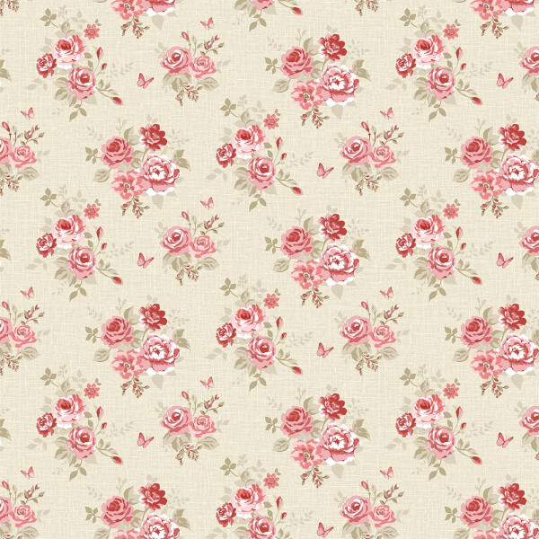 Grandeco  Butterfly Rose Bloom Red Wallpaper