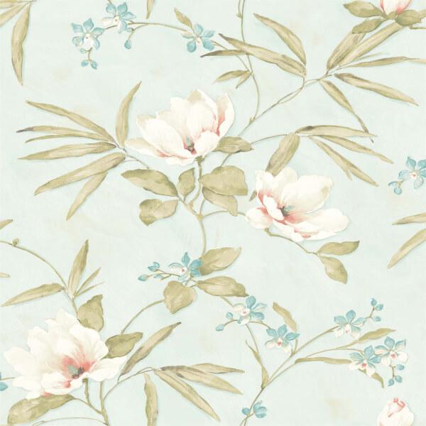 Grandeco Painted Magnolia Blue Wallpaper