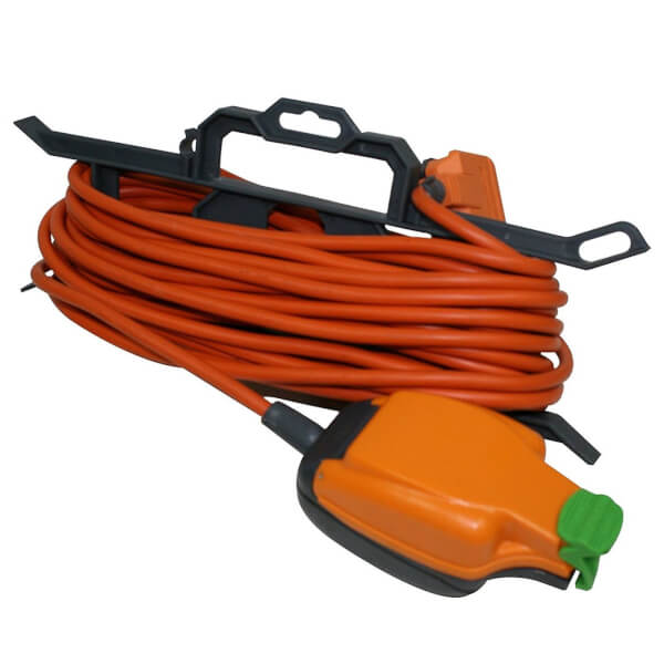 Masterplug 1 IP Rated Socket Heavy Duty Extension Lead with Cable Carrier 15m Orange/Black
