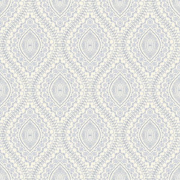Grandeco Stitch Damask Blue Wallpaper
