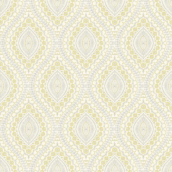 Grandeco Stitch Damask Yellow Wallpaper