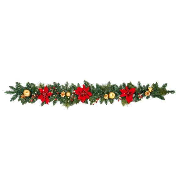 Poinsettia Garland in Red and Gold 180cm