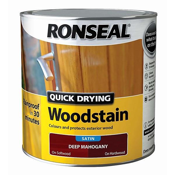 Ronseal Quick Drying Woodstain Satin Deep Mahogany - 2.5L