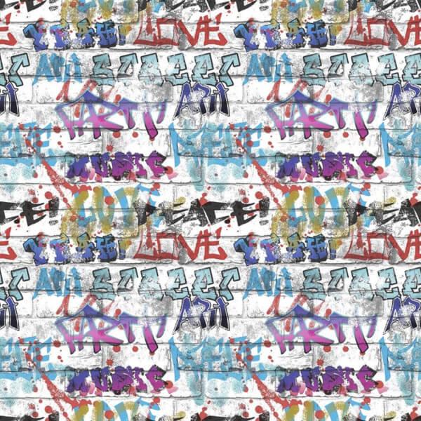 Fresco Graffiti Wallpaper - Multi