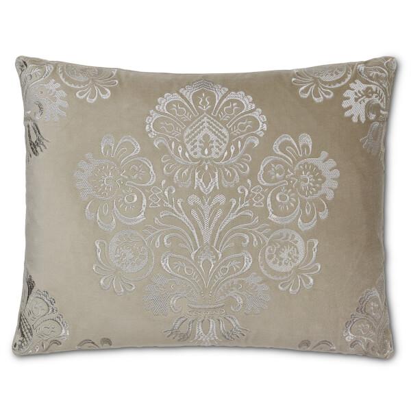 Embroidered Damask Cushion - Grey