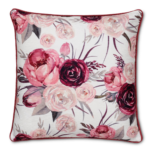 Watercolor Flower Cushion - Red