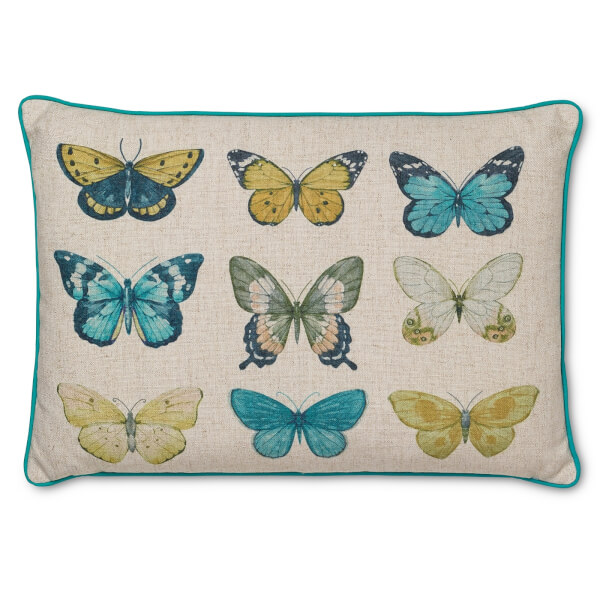 Printed Butterfly Cushion - Teal