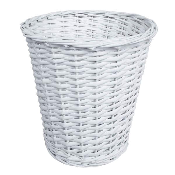 Wicker Bin/Basket - White
