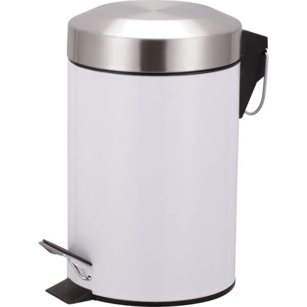 Pedal Bin - White & Chrome - 3L
