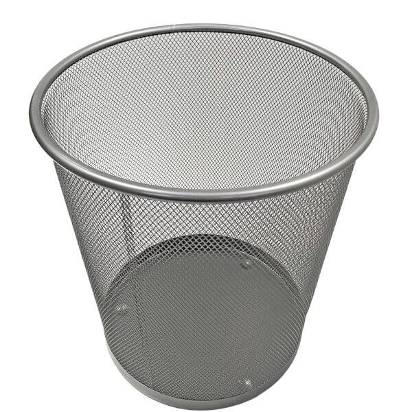 Wire Waste Paper Basket - Silver - 6L