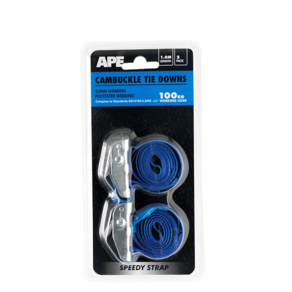 Cambuckle 100kg Tie Down - 1m x 25mm - 2 Pack
