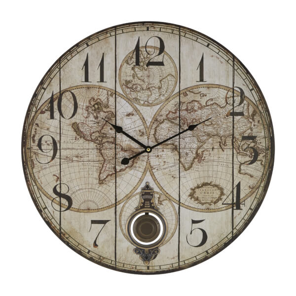 Classic Global Wall Clock with Pendulum