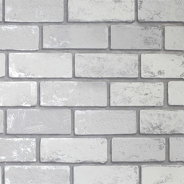 Metallic Brick White Artistick Wallpaper