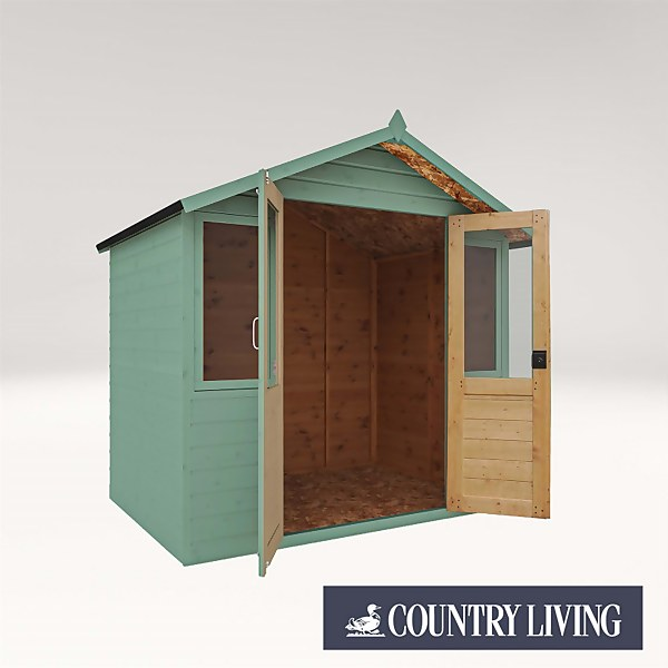 Country Living Flintham 7 x 5 Traditional Summerhouse Painted + Installation - Aurora Green