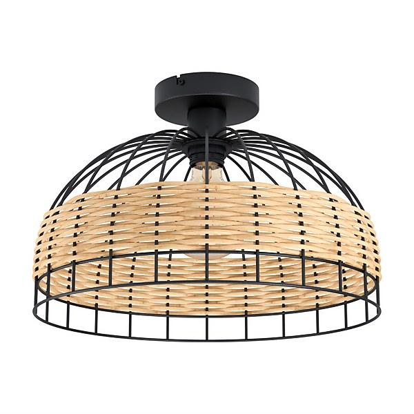 Eglo Anwick Black and Rattan Ceiling Light