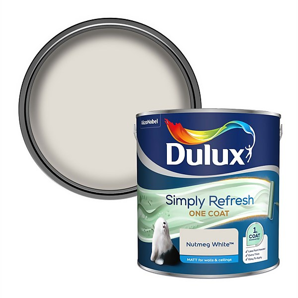 Dulux Simply Refresh One Coat Matt Emulsion Paint - Nutmeg White - 2.5L