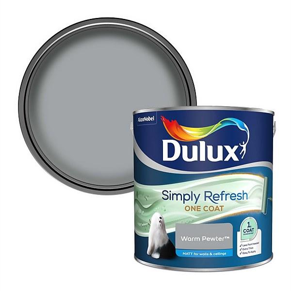 Dulux Simply Refresh One Coat Matt Emulsion Paint - Warm Pewter - 2.5L