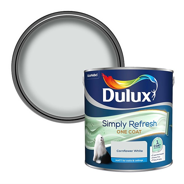 Dulux Simply Refresh One Coat Matt Emulsion Paint - Cornflower White - 2.5L