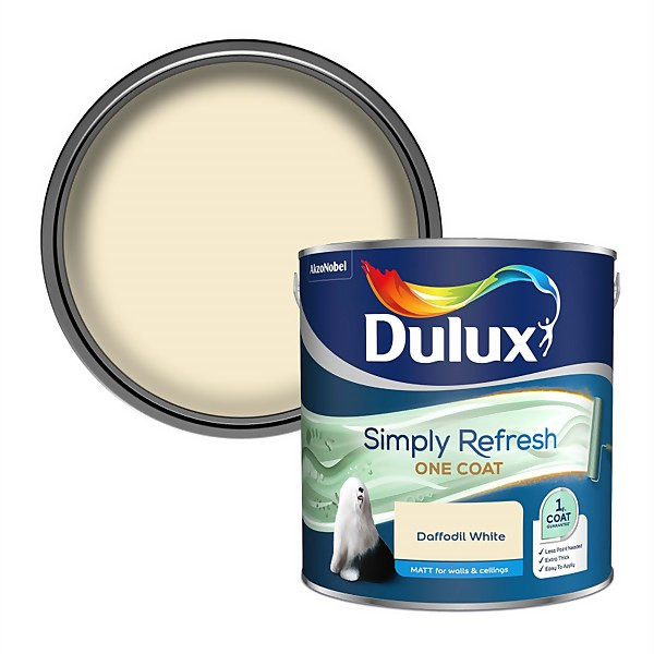Dulux Simply Refresh One Coat Matt Emulsion Paint - Daffodil White - 2.5L
