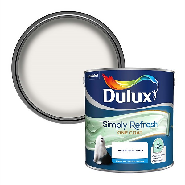 Dulux Simply Refresh One Coat Matt Emulsion Paint - Pure Brilliant White - 2.5L