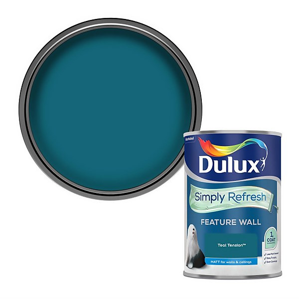 Dulux Simply Refresh Feature Wall One Coat Matt Emulsion Paint - Teal Tension - 1.25L