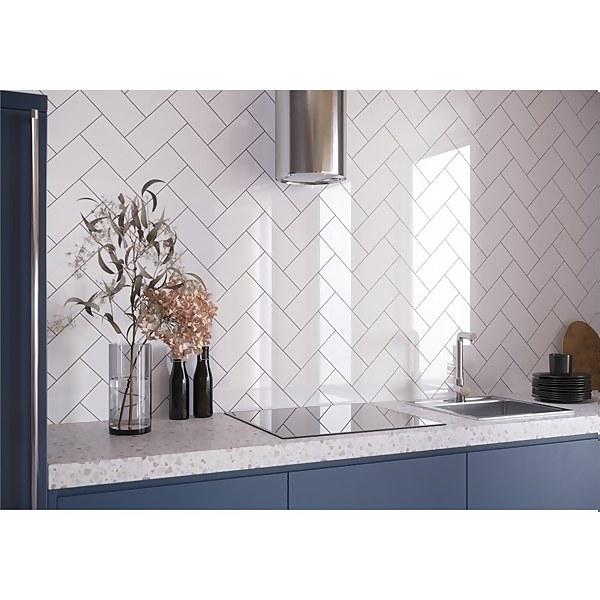 Flat Metro White Gloss Wall Tile - 200 x 100mm