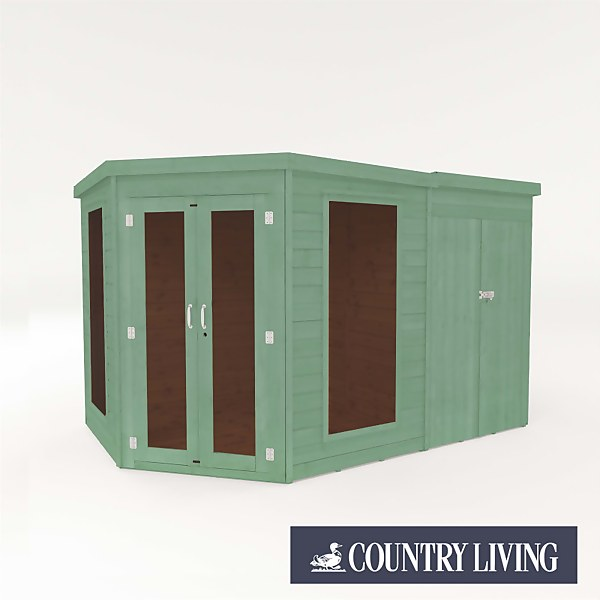 Country Living Ribble 7 x 7 Premium Corner Summerhouse With Side Shed Painted + Installation - Aurora Green
