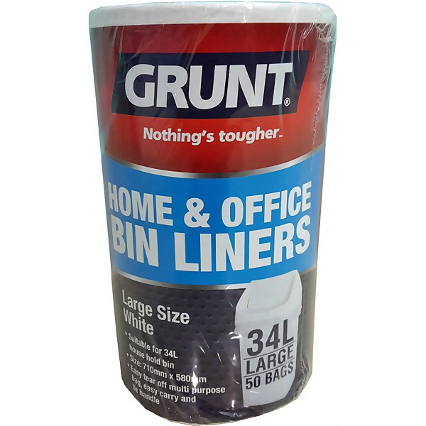 Grunt 34L Home Office Bin Liners - 50 Pack