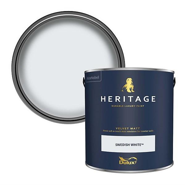 Dulux Heritage Matt Emulsion Paint - Swedish White - 2.5L