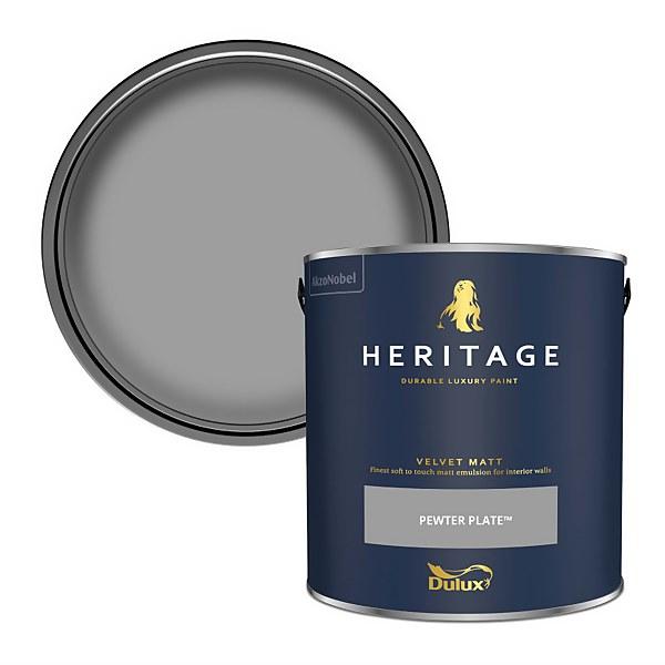 Dulux Heritage Matt Emulsion Paint - Pewter Plate - 2.5L