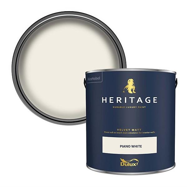 Dulux Heritage Matt Emulsion Paint - Piano White - 2.5L
