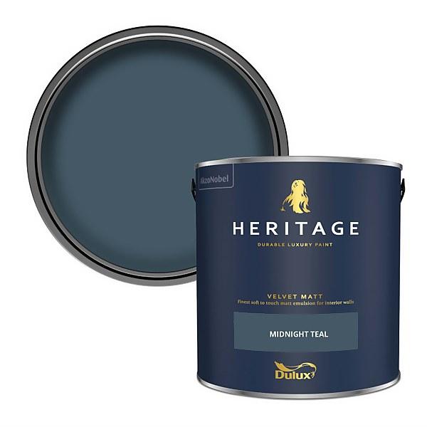 Dulux Heritage Matt Emulsion Paint - Midnight Teal - 2.5L
