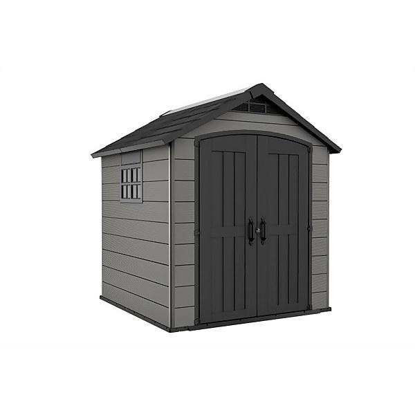 Keter Premier Outdoor Plastic Garden Storage Shed, 7.5x7ft - Grey