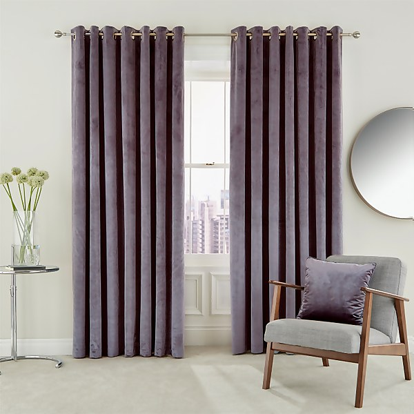 Peacock Blue Hotel Collection Escala Lined Curtains 66 x 90 - Damson