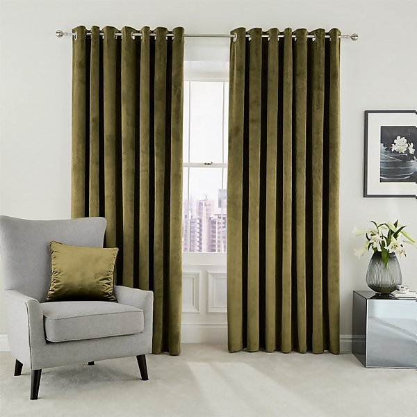 Peacock Blue Hotel Collection Escala Lined Curtains 90 x 54 - Olive