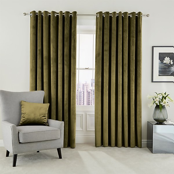 Peacock Blue Hotel Collection Escala Lined Curtains 90 x 72 - Olive