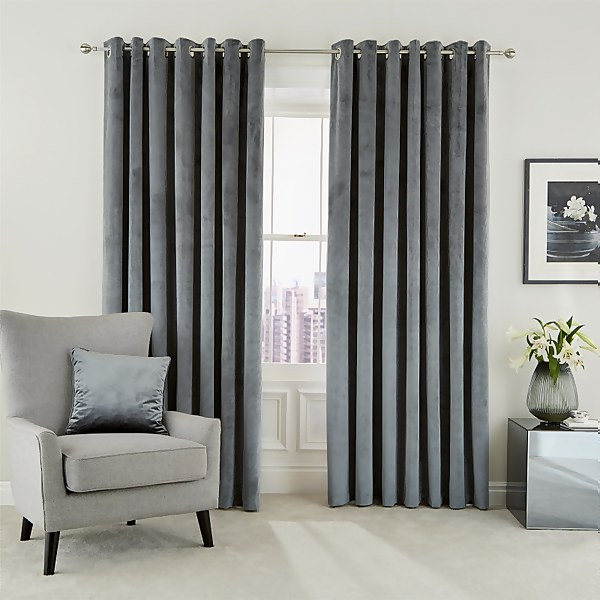 Peacock Blue Hotel Collection Escala Lined Curtains 66 x 90 - Steel