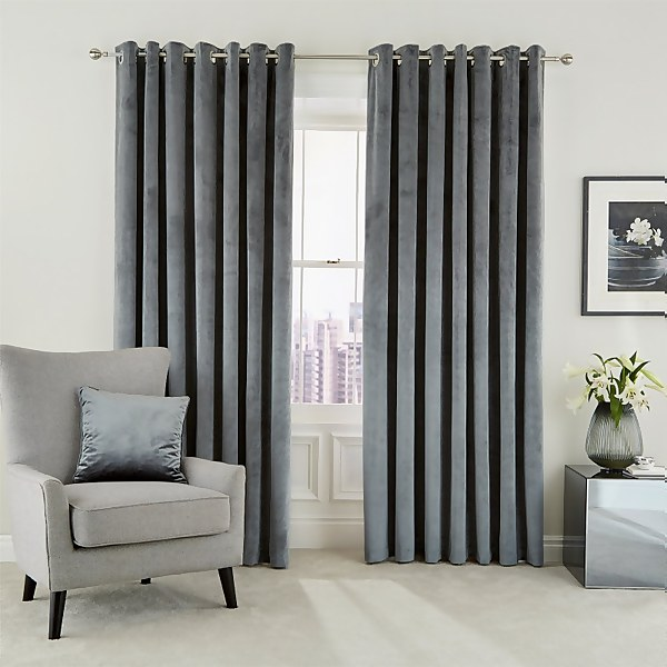 Peacock Blue Hotel Collection Escala Lined Curtains 90 x 72 - Steel