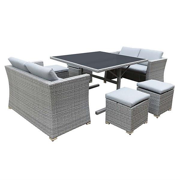 Bambrick 8 Seater Grey Rattan Cube Garden Furniture Set
