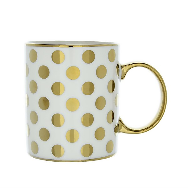 New Bone Mug in Spotty Gold Design