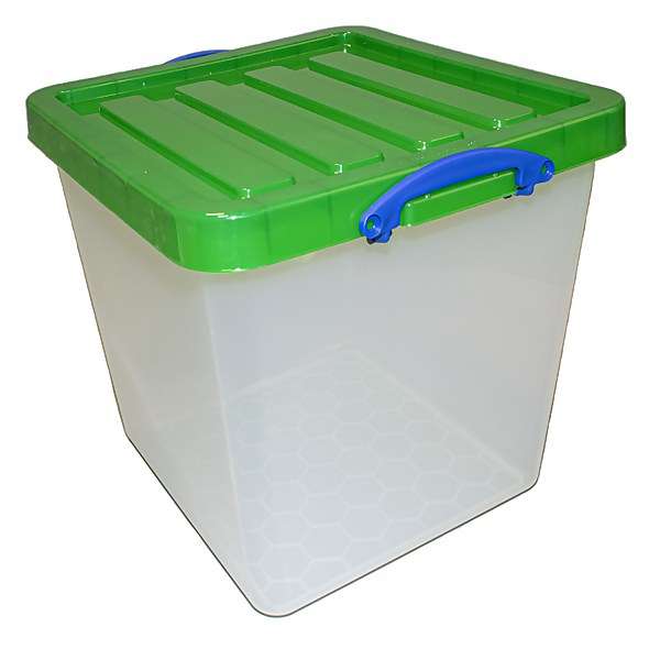 Really Useful Storage Box - 60L - Clear with Green Lid